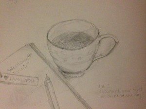 30 Day Drawing Challenge: Day 2 Draw your first hot drink of the day.